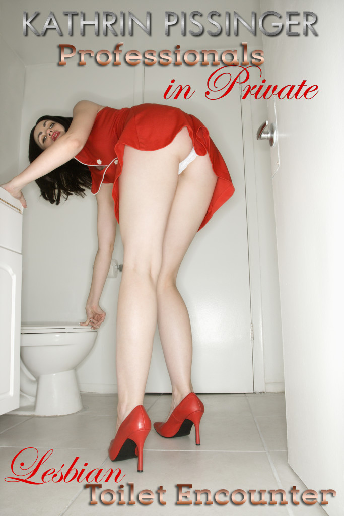 Low angle view of Caucasian young adult woman bending towards toilet with underwear showing.